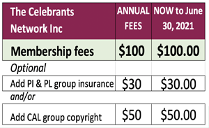 celebrant network fees six mnths 300