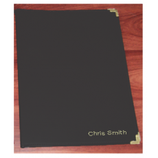 A4 Leatherette Album: 20 black - pockets personalised
