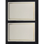 A5 cream gold plain border certificate: BLANK Pair