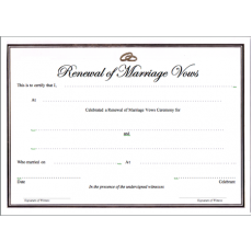 A4 white gold  certificate - renewal of vows