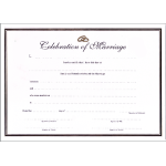 A4 white gold  certificate - celebration of marriage