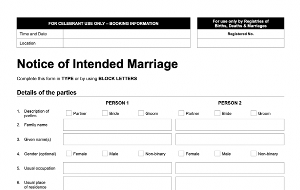 Australia requires a long notice to marry